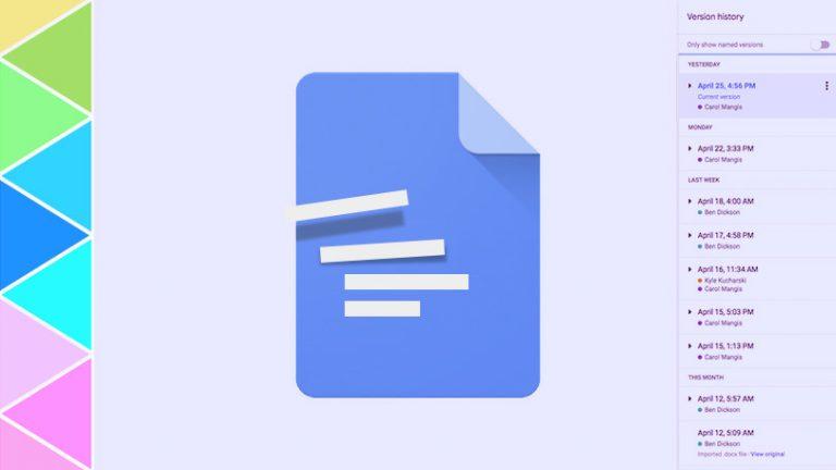 Как работать с историей редакций в Google Документах