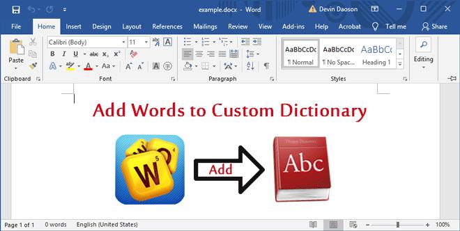 Как добавить слова в собственный словарь в Microsoft Word 2016