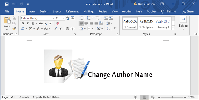 Как изменить имя автора в документе Word 2016