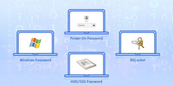 Пароль Windows, пароль на включение, пароль жесткого / твердотельного накопителя и BitLocker?