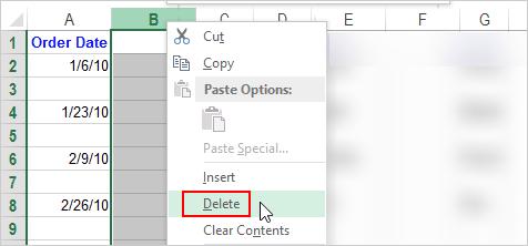 Как удалить пустые строки, столбцы и ячейки в Excel 2016