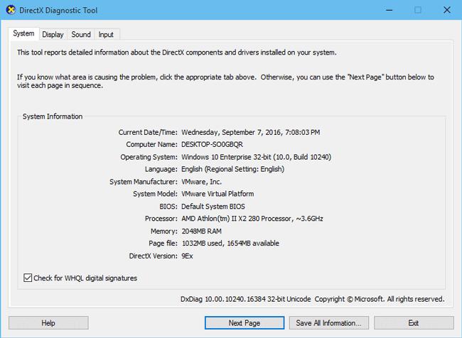 4 способа запустить средство диагностики DirectX в Windows 10