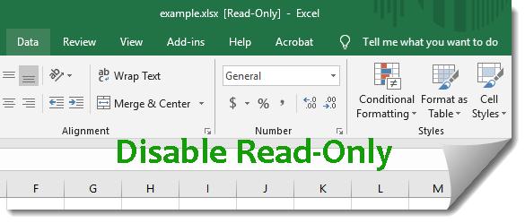 Как отключить только чтение в Excel 2016