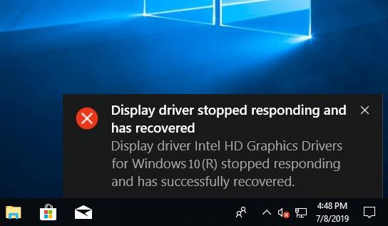 «Драйвер дисплея перестал отвечать и был восстановлен» Ошибка Windows 10