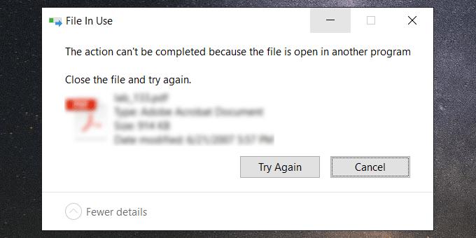 Не удается удалить файл, потому что он открыт в другой программе Windows 10
