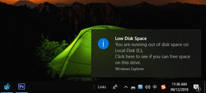 Как отключить предупреждение «Недостаточно места на диске» в Windows 10