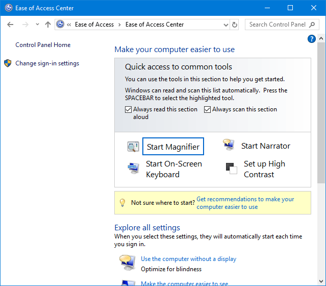 4 способа открыть Центр специальных возможностей в Windows 10