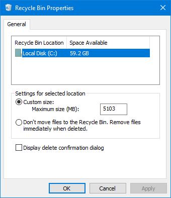 3 способа открыть свойства корзины в Windows 10