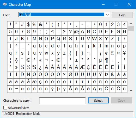 Как запустить карту символов в Windows 10
