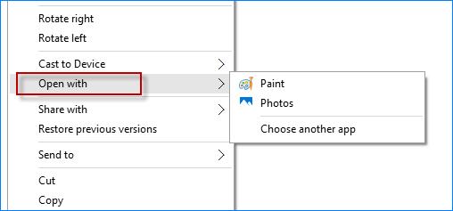 Добавьте средство просмотра фотографий Windows, чтобы открыть его с помощью меню в Windows 10