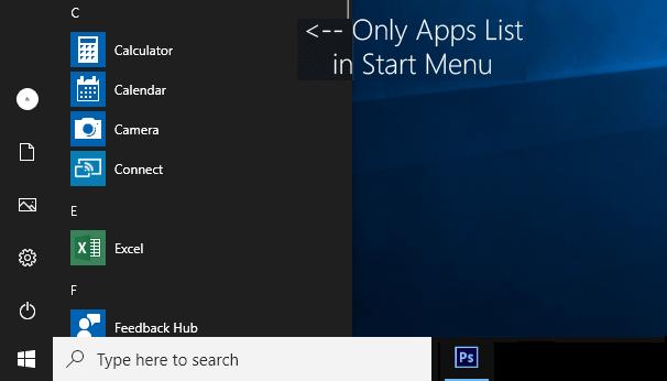Как скрыть / получить доступ к списку всех приложений из меню Пуск Windows 10